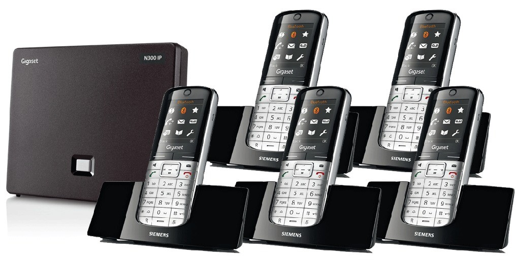 Siemens Gigaset N300IP DECT Base And SL400H Additional Handsets - Quint Pack
