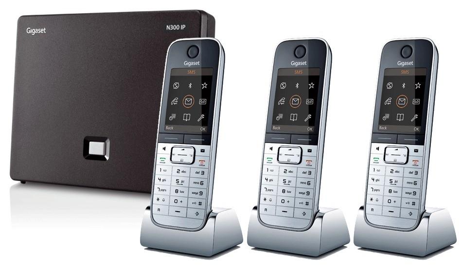 Siemens Gigaset N300IP DECT Base And Triple SL78H Additional Handsets