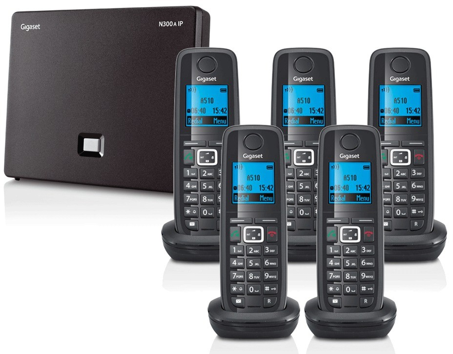Siemens Gigaset N300A IP DECT Base With Answering Machine And A510H Additional Handset - Quint Pack