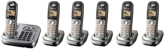 Panasonic KX-TG7346 Six Pack DECT Cordless Phone with Answering Machine