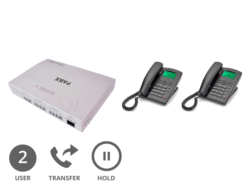 Orchid Analogue PABX 308+ (Plus) Multi-line Phone System with 2 x Orchid XL220 Handsets and Logos