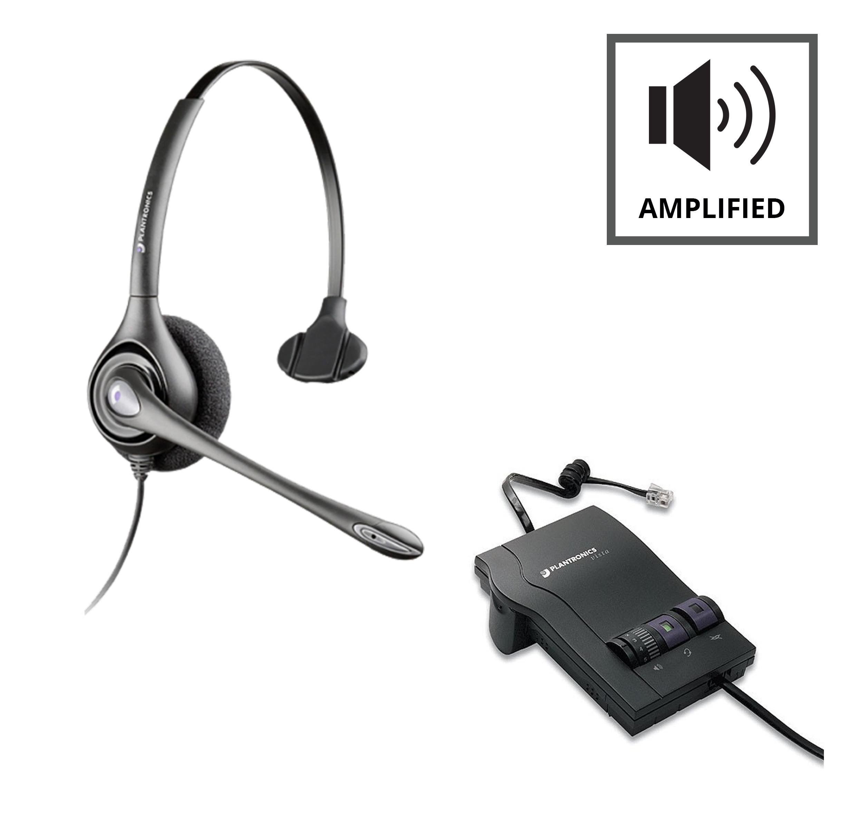 Plantronics M12 Vista Amplifier - A - Grade + Plantronics HW251N Supraplus Monaural - Noise Cancelling Headset - A - Grade