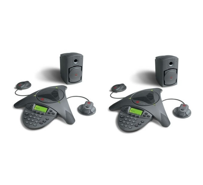 Polycom Soundstation VTX1000 HD Voice with Subwoofer and Microphones Twin Pack Audio Conferencing Phone (2200-07142-002-MICS-SUB-TWN)