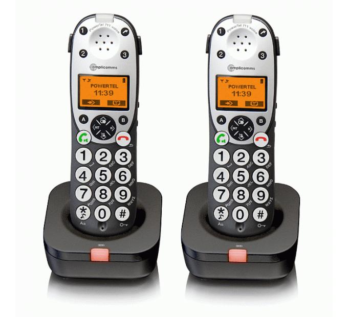 Amplicomms Powertel 712 Voice DECT Cordless phone - Twin Pack
