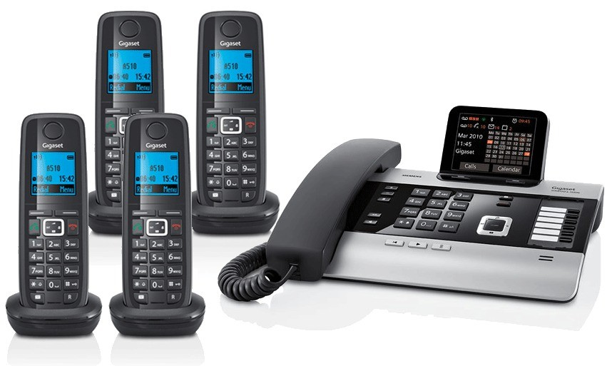 Gigaset DX800A All In One Telephone and Quad A510H Additional Handsets