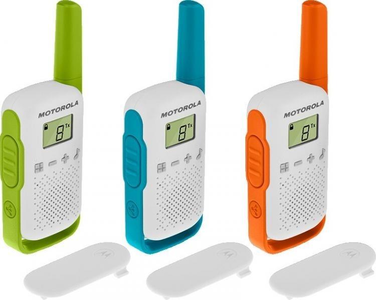 Motorola TALKABOUT T42 Walkie Talkies - Triple Pack - Green / Blue / Orange  - New