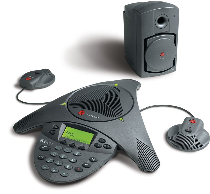 Polycom Soundstation VTX1000 HD Voice with Subwoofer and Microphones Audio Conferencing Phone