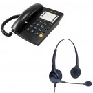 Agent 1000 Corded Telephone - Black and JPL 502 Binaural Noise Cancelling Office Headset (JPL-502-P) Bundle