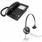 Agent 1000 Corded Telephone - Black and Plantronics HW251 Supraplus Wideband Monaural Office Headset - A Grade (36828-41) Bundle