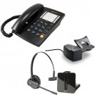 Agent 1000 Corded Telephone - Black and Plantronics CS540 Convertible DECT Cordless Headset - A Grade (84693-02) and Plantronics Savi HL10 - Straight Plug Version (60961-35) Bundle