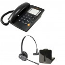 Agent 1000 Corded Telephone - Black and Plantronics CS540 Convertible DECT Cordless Headset - A Grade (84693-02) Bundle