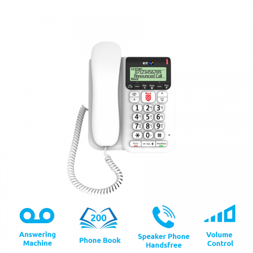 BT Decor 2600 Corded Telephone With Answering Machine (Corded Phone - Analogue - With Answering Machine)