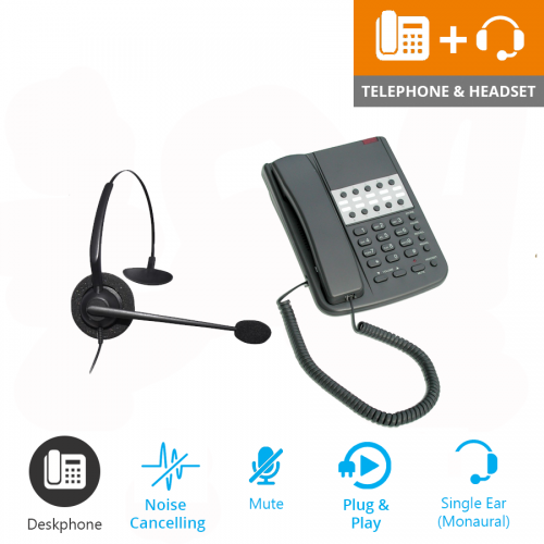 Orchid DBT2000 Business Phone - Light Grey and JPL 100 Monaural Noise Cancelling Office Headset (JPL100M) Bundle