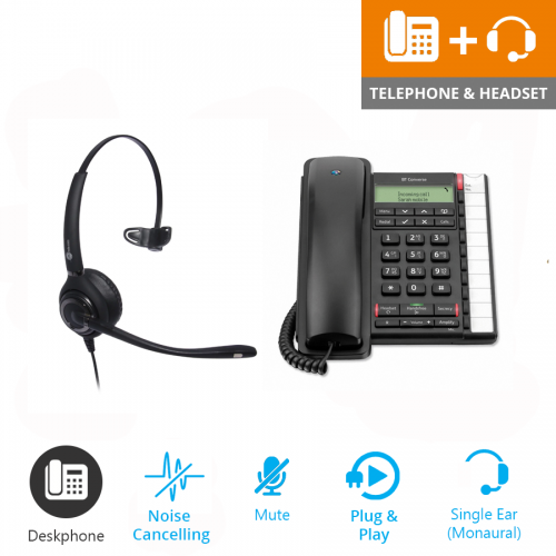 BT Converse 2300 Corded Telephone - Black and JPL 501 Monaural Noise Cancelling Office Headset (JPL 501-P)1