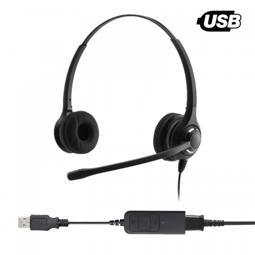 Traction TeamPage Professional Binaural Noise Cancelling USB Headset