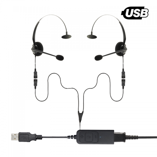 ThreadKM USB-A | USB-C Monaural Splitter Training Headset Bundle 2 Users