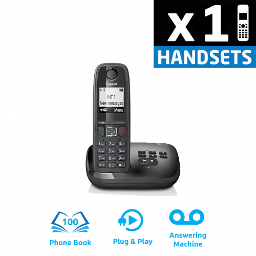 Gigaset AS405A DECT Cordless Phone With Answering Machine - Single Pack