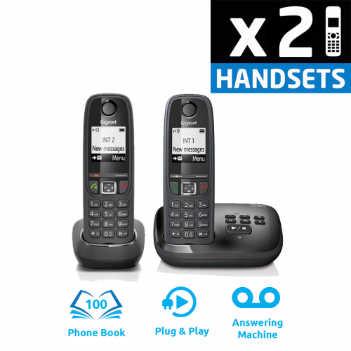 Gigaset AS405A DECT Cordless Phone With Answering Machine - Twin Pack