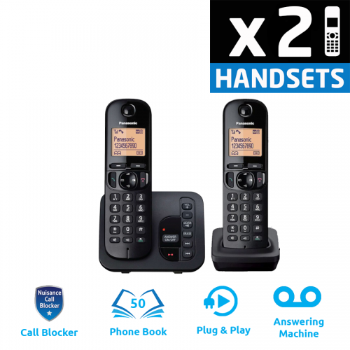 Panasonic KX-TGC222EB DECT Cordless Phone With Answering Machine - Twin