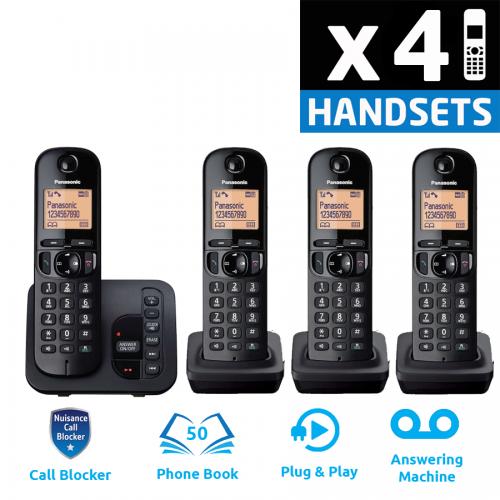 Panasonic KX-TGC224EB DECT Cordless Phone With Answering Machine - Quad
