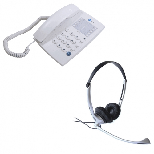 Agent 1000 Corded Telephone - White and JPL JAC Binaural Noise Cancelling Office Headset (JAC0011211-B) Bundle