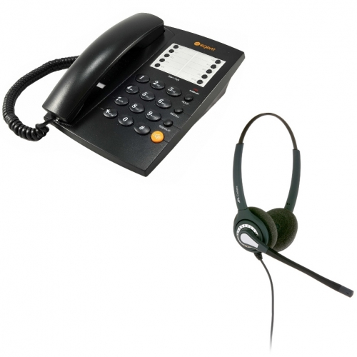 Agent 1000 Corded Telephone - Black and JPL 402 Binaural Noise Cancelling Office Headset (JPL 402-P) Bundle