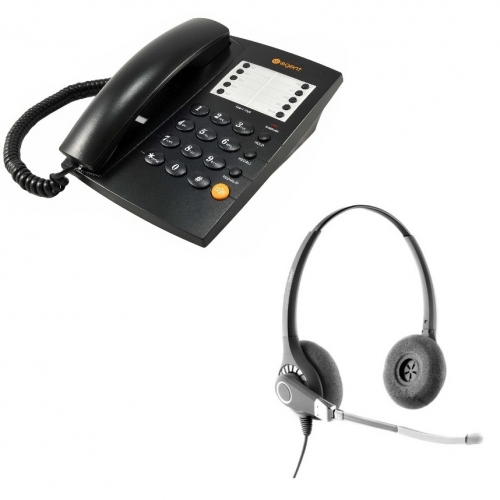Agent 1000 Corded Telephone - Black + Project 201 Binaural Voice Tube Headset