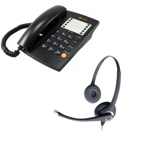 Agent 1000 Corded Telephone - Black + Project 202 Binaural Noise Cancelling Headset