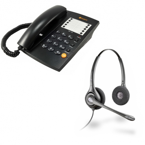 Agent 1000 Corded Telephone - Black and Plantronics HW261N Supraplus Wideband Binaural - Noise Cancelling Office Headset - A Grade (36834-41) Bundle