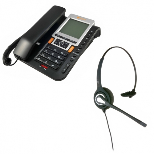 Agent 1100 Corded Telephone and  JPL 401 Monaural Noise Cancelling Office Headset (JPL 401-P) Bundle