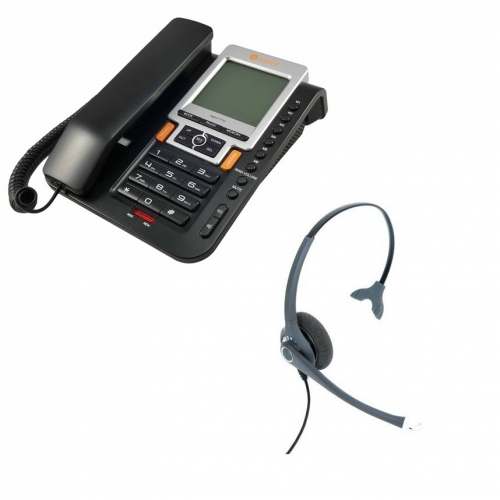 Agent 1100 Corded Telephone + Project 102 Monaural Noise Cancelling Headset