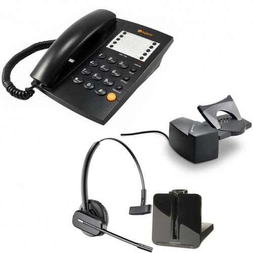 Agent 1000 Corded Telephone - Black and Plantronics CS540 Convertible DECT Cordless Headset - A Grade (84693-02) and Plantronics Savi HL10 - Straight Plug Version (60961-35) Bundle