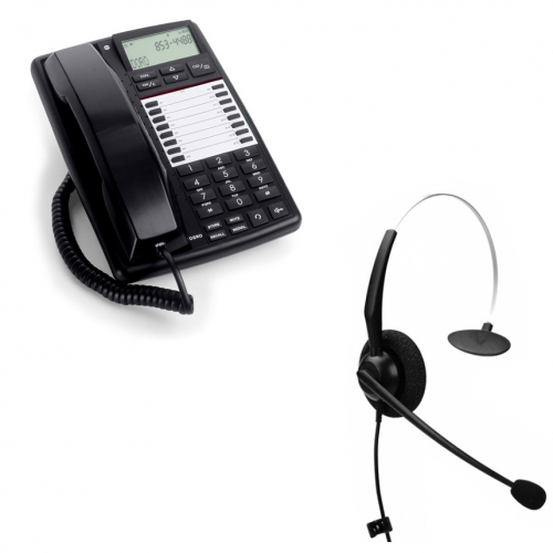 DORO AUB 300i Business Telephone - Black and JPL 100 Monaural Noise Cancelling Office Headset (JPL100M) Bundle