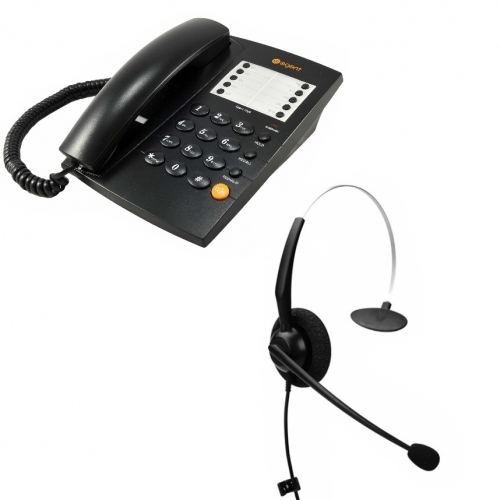 Agent 1000 Corded Telephone - Black and JPL 100 Monaural Noise Cancelling Office Headset (JPL100M) Bundle