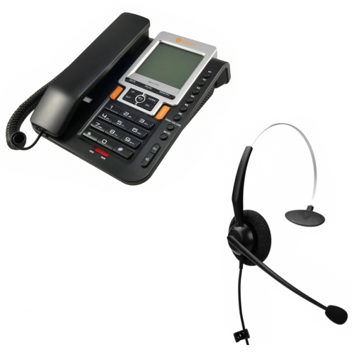 Agent 1100 Corded Telephone and JPL 100 Monaural Noise Cancelling Office Headset (JPL100M) Bundle