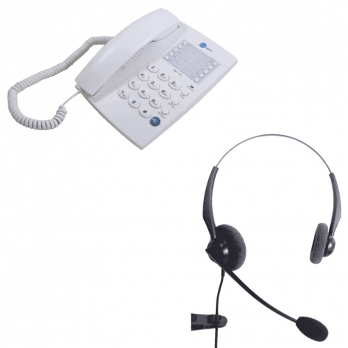 Agent 1000 Corded Telephone - White and JPL 100 Binaural Noise Cancelling Office Headset (JPL100B) Bundle