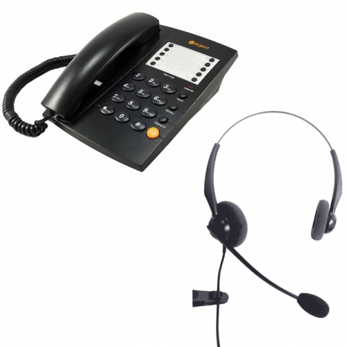 Agent 1000 Corded Telephone - Black and JPL 100 Binaural Noise Cancelling Office Headset (JPL100B) Bundle
