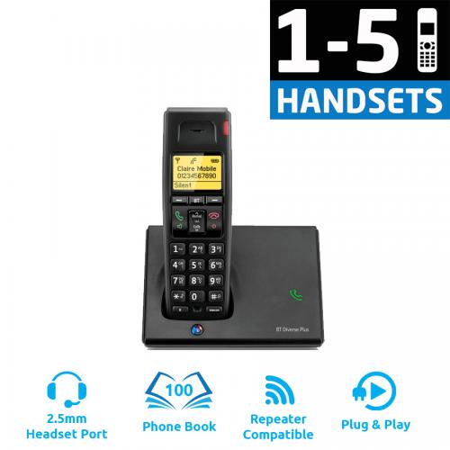 BT Diverse 7110 Plus DECT Cordless Phone - (1-5 Handsets)