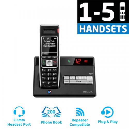 BT Diverse 7450 Plus DECT Cordless Phone - (1-5 Handsets