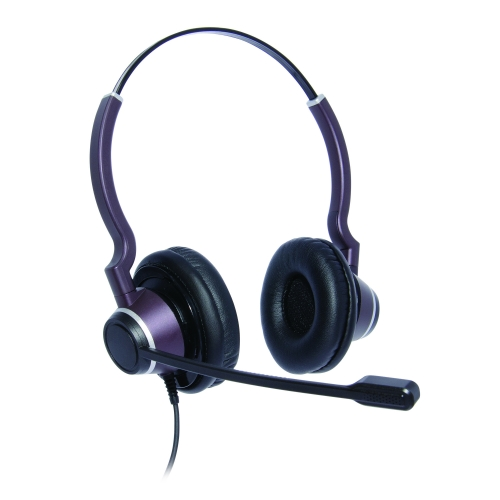Binaural Ultra Noise Cancelling Contact Centre Headset Compatible With Grandstream GXP1760