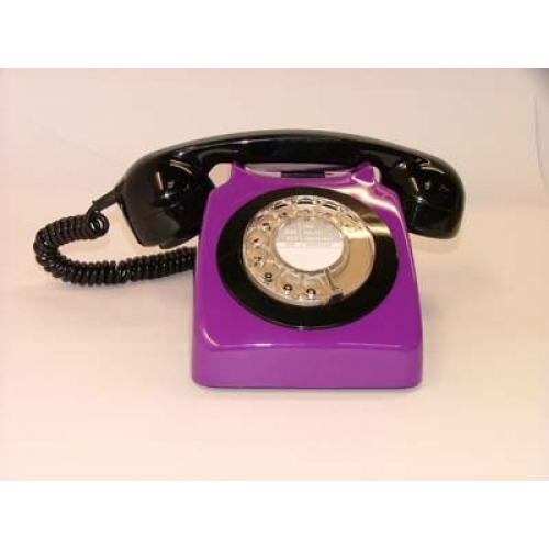Original GPO 746 Rotary Dial 1970's Telephone - Deep Purple & Black