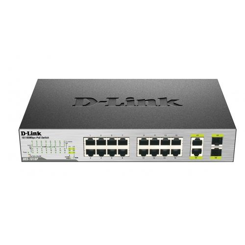D-Link DES-1018P 18-Port Fast Ethernet PoE Switches with 2 Gigabit Uplink Ports
