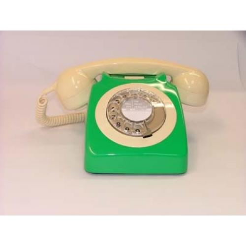 Original GPO 746 Rotary Dial 1970's Telephone - Emerald Green & Ivory