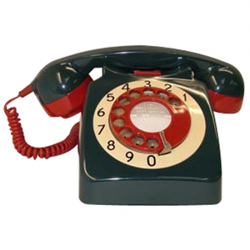 Original GPO 746 Rotary Dial 1970's Telephone - Target - Blue/Green Red & Ivory