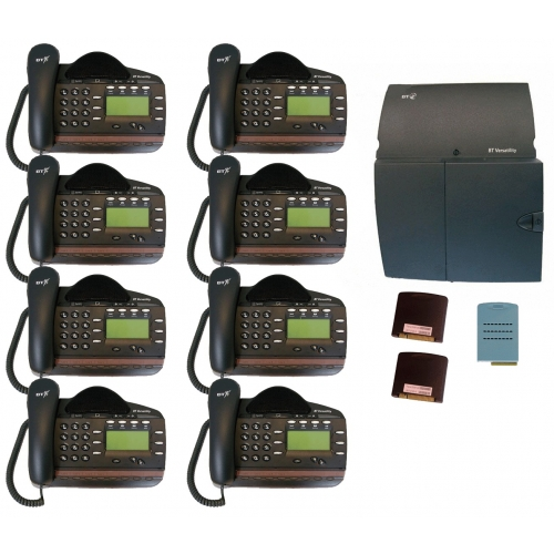 BT Versatility 4 line Analogue Telephone System With 8 x V8 Handsets