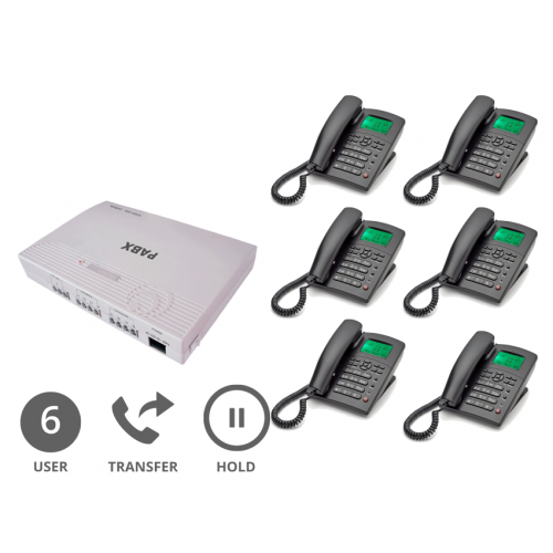 Orchid Analogue PABX 308+ (Plus) Multi-line Phone System with 6 x Orchid XL250 Handsets with 10 Metre Connection Cables (6 User) Logo