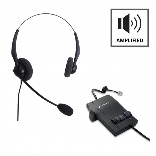 Plantronics M12 Vista Amplifier A Grade and JPL 100 Binaural Noise Cancelling Office Headset (JPL100B) Bundle