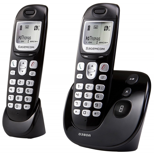 Sagemcom D380A DECT Cordless Phone With Answering Machine - Twin Pack