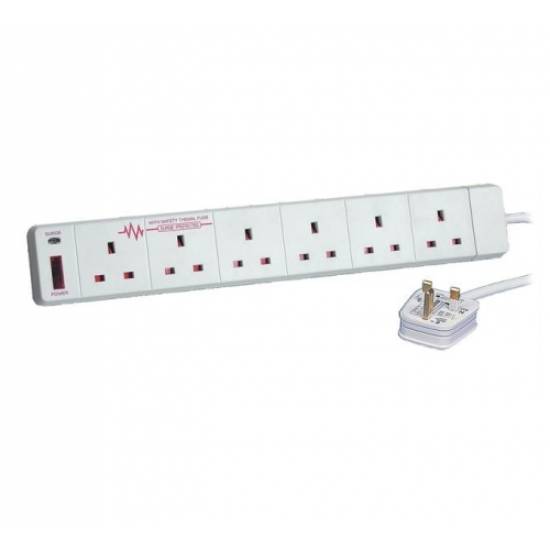 Tacima 6 Gang Surge Protected extension lead (2M)