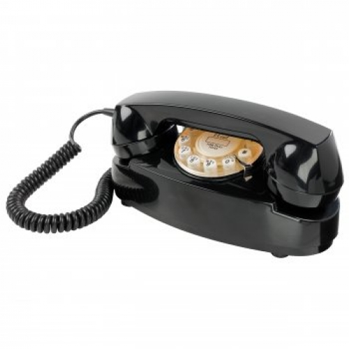 Wild & Wolf Princess Push Button Retro Telephone - Black